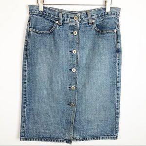 Vintage J Crew 90s Button Down Denim Pencil Skirt